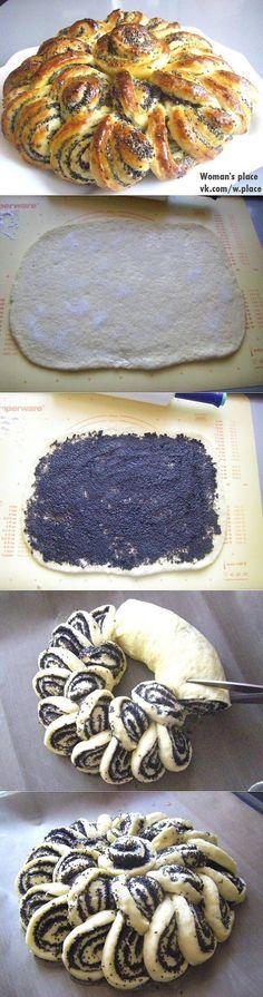 une brioche au pavot en forme d'escargot - faire avec du chocolat