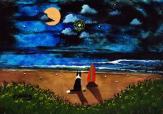 Border Collie Dog modern folk art PRINT of Todd Young Twilight Beach