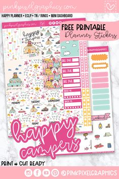 Happy Campers New - Free Weekly Planner Kit | Pink Pixel Graphics