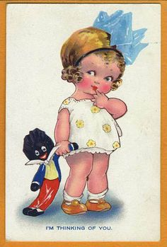 Agnes Richardson Postcard ... With A Golliwog Doll.