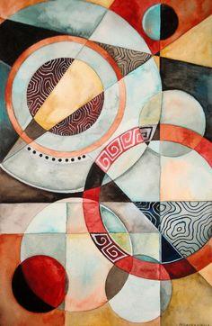 "Kimberly Garvey; Watercolor, ""Rings 2"""