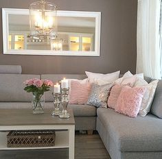 Love The wall color with that white mirror.