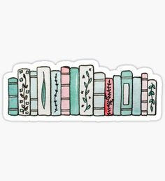 Book Stickers Pastel Books Sticker<br> Book stickers featuring millions of original designs created by independent artists. Stickers Cool, Red Bubble Stickers, Tumblr Stickers, Phone Stickers, Journal Stickers, Printable Stickers, Planner Stickers, Cute Laptop Stickers, Name Stickers