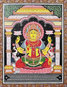 Lakshmi - Goddess of Wealth (Orissa Paata Painting on Canvas - Unframed))