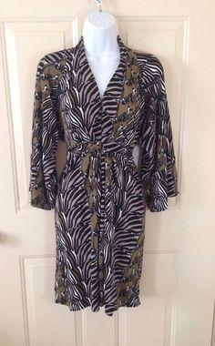 Banana Republic Issa London Collection Olive Zebra Print Kimono Dress Size 0 #bananarepublicissalondon #WrapDress #Casual