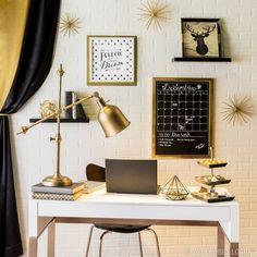 Resultado de imagem para home office gold