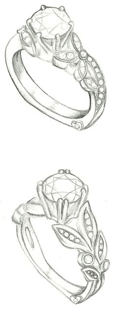 Mark Schneider Design - Customized floral engagement ring sketches