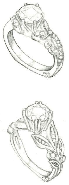 Mark Schneider Design - Customized floral engagement ring sketches