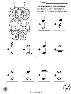 Leprechaun Music Math FREE download!!    #musiceducation       #musedchat