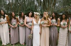 bridesmaids in muted tones