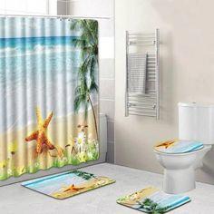 Wociaosmd Toilet Decor Sea Style Non Slip Toilet Polyester Cover Mat Set Bathroom Shower Curtain For Bathroom A Ocean Bathroom, Beach House Bathroom, Bathroom Decals, Bathroom Shower Curtains, Bathroom Sets, Ocean Shower Curtain, Toilet Mat, Shower Liner, Colorful Curtains