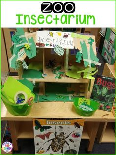 April/may. How to change the dramatic play center into a zoo and embed STEM and literacy into their play. Perfect for preschool, pre-k, and kindergarten. Preschool Centers, Preschool Science, Preschool Layout, Preschool Bug Theme, Preschool Lessons, Learning Centers, Dramatic Play Themes, Dramatic Play Centers, Insect Activities