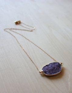 Violet Druzy Necklace by GeometricTheory on Etsy