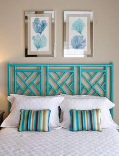 love the turquoise bamboo headboard! this is probably super easy and inexpensive. Possibly an old screen would work
