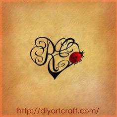 initials lady bug ladybug tattoos paintings bedrooms lady tattoo ...