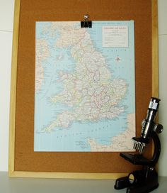 Vintage Map England and Wales 1960s Suitable for Framing