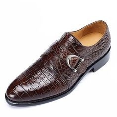 Handmade Men Alligator Leather Single Monk Strap Dress Shoes Oxford Formal Business Shoes sold by Lajuria. Comfortable Mens Dress Shoes, Simple Shoes, Custom Design Shoes, Business Shoes, Monk Strap Shoes, Mens Fashion Shoes, Fashion Shirts, Men's Shoes, Shoes Men