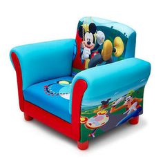 Your little one will have the coolest Clubhouse ever with this Disney Mickey Mouse Upholstered Chair from Delta Children. A cozy toddler chair, it features a durable wood frame, plush foam padding and cool graphics of Mickey swinging from a tire swing, along with his friends Goofy, Donald Duck and Pluto on the sides. The perfect kids-only spot for reading, watching movies or just relaxing, it makes any activity extra special. Recommended for ages 3 years and up/holds up to 100 pounds.  T...