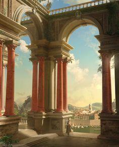 arche / palais / ville / majestueux / pilier / nuages / matin / lumière / couleur / composition