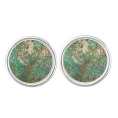 Green Stone Cufflinks - sterling silver plated #rocks #minerals #mens #geology