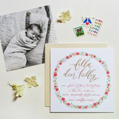 foil stamped baby announcements LOVE THIS simple photo on front/back, all the info  you need in a beautiful design