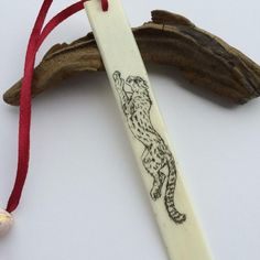 Scrimshawed Piano Key Bookmark, American Cheetah