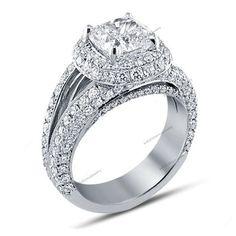 2-5/7 CTW D/VVS1 Diamond Split Shank Halo Style Pure 925 Silver Engagement Ring #br925silverczjewelry #WomensEngagementRing