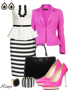 """Striped Pencil Skirt Contest"" by anna-campos on Polyvore"