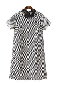 Grid Print Shirt Dress with Short Sleeves