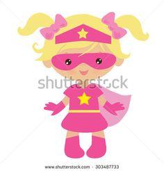 Superhero girl vector illustration