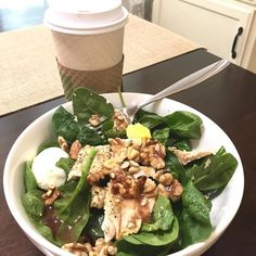My go-to lunch lately is a salmon salad (I pre roast the salmon filets on Sunday) with walnuts craisins Bragg's dressing and hard boiled eggs. Today I had a HUGE hazelnut coffee from Panera also