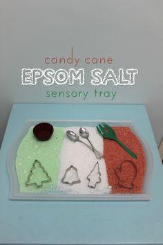Candy Cane Epsom Salt Sensory Tray | Mama.Papa.Bubba.