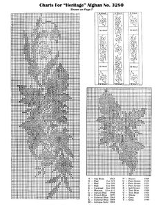Embroidery and arrangement charts for the Heritage floral themed afghan