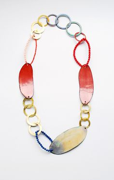 danni schwaag necklace 2011  enamel on copper, brass, sodalith, synthetic coral, gold