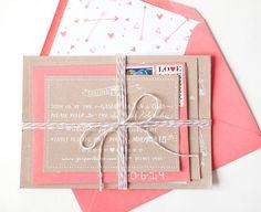 Julie + Ryans Kraft and Coral Wedding Invitations