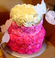 Pink Ombré cake with Buttercream rosettes