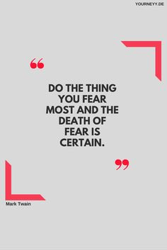 Life is short. You lose too much time being scared! Do what fears you NOW!  #motivation #quote #deutsch