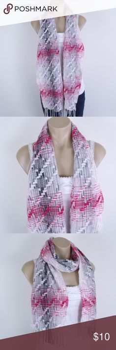 "Charter Club Pink Gray Cashmere Scarf ~ Charter Club cashmere scarf. Pink, gray and white with fringe on ends. ~ Measures 65"" long and 9.5"" wide ~ 100% Cashmere ~ Scarf is in nice condition Charter Club Accessories Scarves & Wraps"