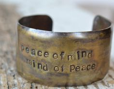 peace of mind mind of peace handstamped on by MYPEACEofJEWELRY, $25.00