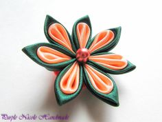 Sansa  - Handmade Floral Broach by Purple Nicole (Nicole Cea Mov), peach and green handmade kanzashi satin flower.