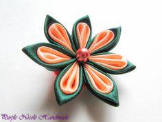 Sansa  - Handmade Floral Broach by Purple Nicole (Nicole Cea Mov), peach and green handmade kanzashi satin flower.