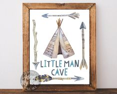 Little man cave, instant download, boys room, baby boy, printable art, teepee, tribal, nursery, wall art,tribal nursery,man cave,nursery art by AdornMyWall on Etsy