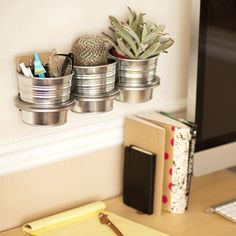 I've been wanting some succulents and/or a terrarium in my home-office. This is the perfect way to do it.