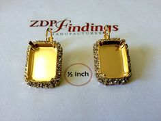 2pcs Octagon 18x13mm Bezel Earrings Gold Plated For by zdpfindings--All kinds of jewelry settings