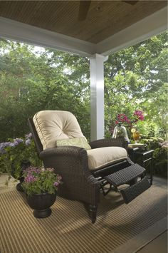 Kick back and relax in this outdoor recliner.