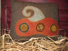 Fall Pillow -  Wool Applique