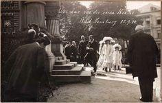 Tsar Nicholas II and his daughters visiting a Russian church in Hamburg, c. 1910.