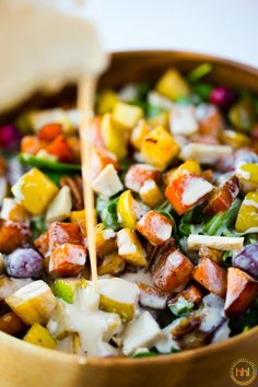 Butternut Apple Maple Pecan Salad with Tahini Dressing