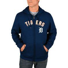 Detroit Tigers Majestic Come Back Win Fleece Full-Zip Hoodie - Navy
