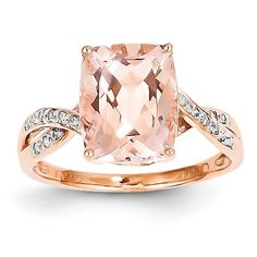 Gold and Watches 14k Rose Gold Diamond and Morganite Rectangle Ring